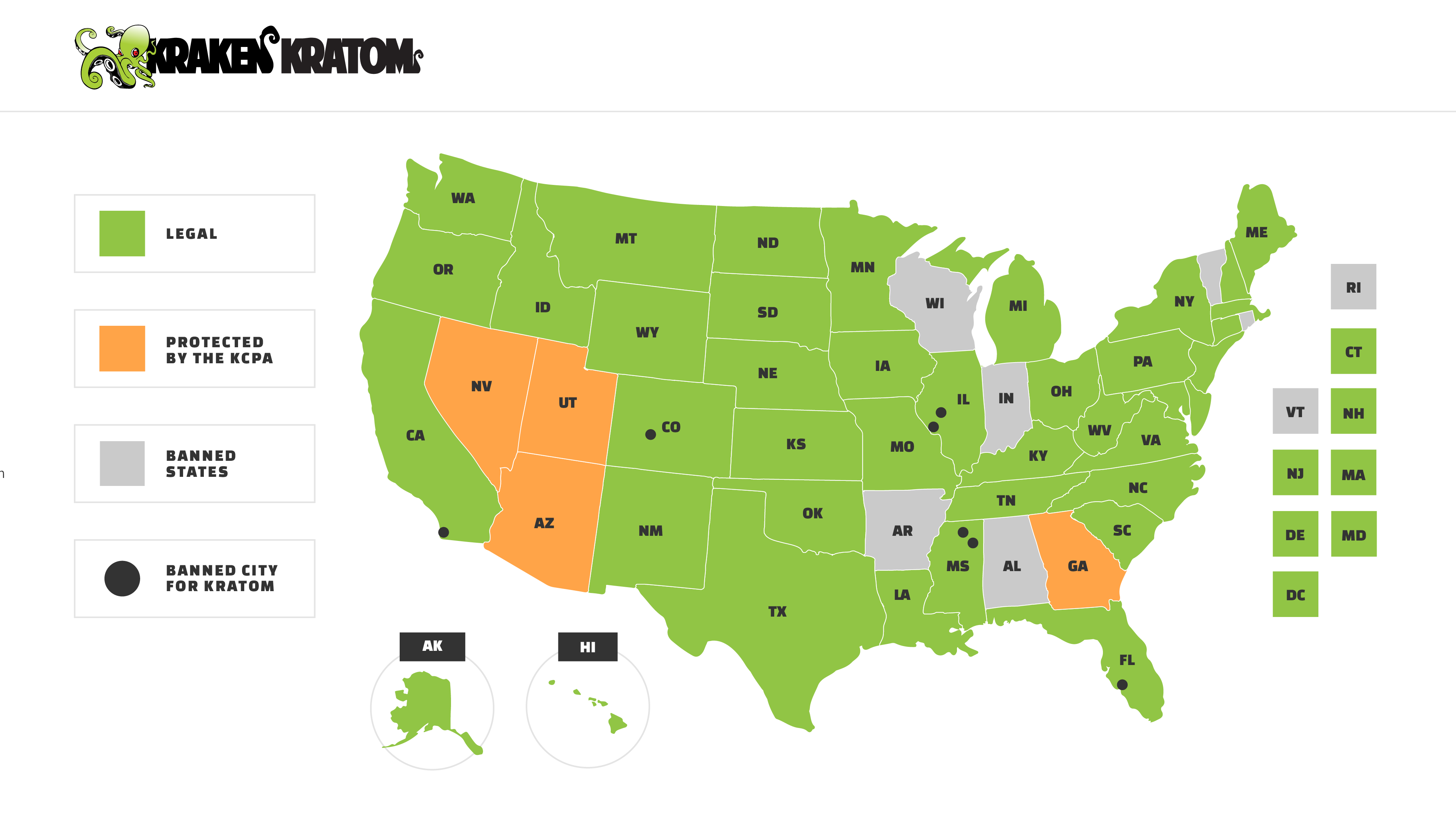 Map Of Where Kratom Is Legal In The United States